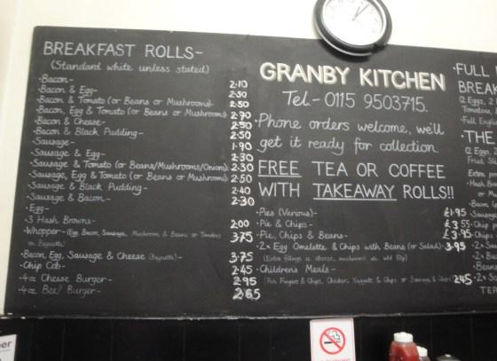 Granby Kitchen menu board