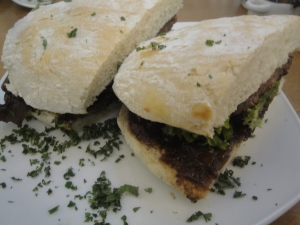 Grilled Beef and Blue Cheese sausage sandwich