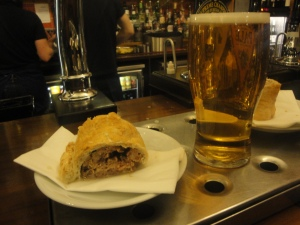 Sausage Roll and Harvest Pale