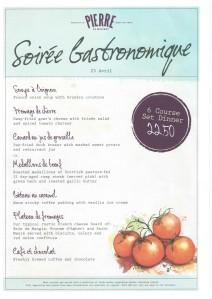 sorie gastronomique menu