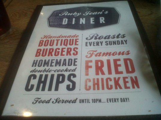 Ruby Jeans Diner Menu cover