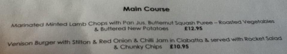 Roundhouse Menu options
