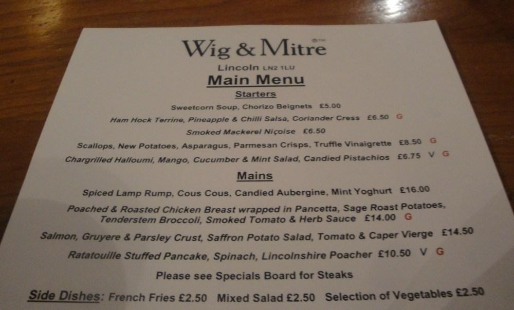Wig & Mitre Menu