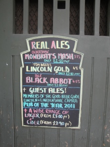 Real Ale Chalkboard at the Jolly Brewer