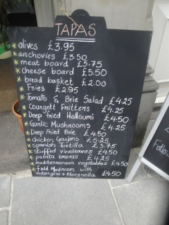 Tapas Chalkboard options