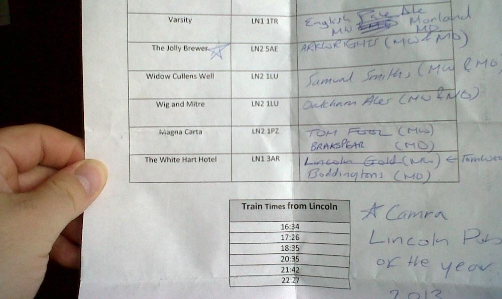 Martins Lincoln Beer Trip List