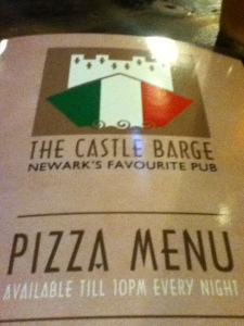 Pizza Menu Cover at Castle Barge