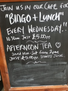 Moores OAP Bingo Wednesday Sign