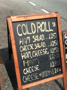 Cold Roll menu options at Gourmet Grill
