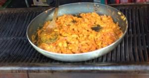 Homemade paella in the pan