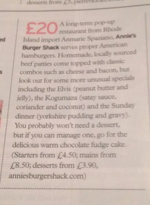 Annies Burger Shack in Olive Magazine