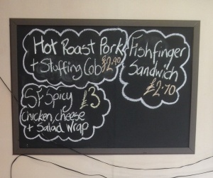 Lady Bay Cafe Specials Board