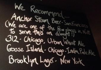 US Beers list at Fothergills