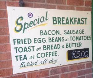 Special Breakfast Sign