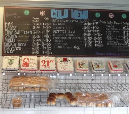 Cold Sandwich Options at Clifton Cob Shop