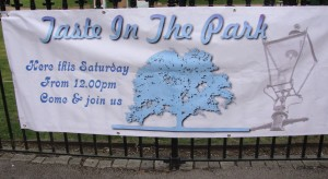 Taste in the Park sign