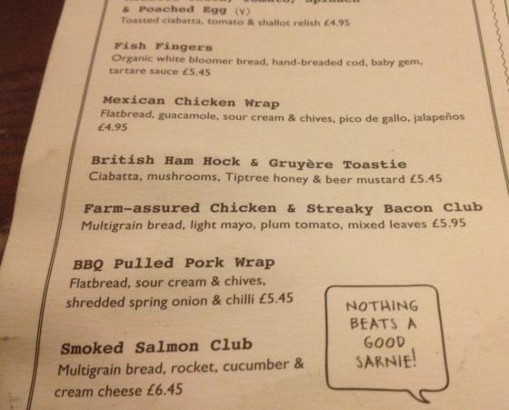 Trio sandwich menu