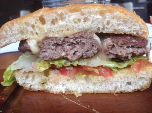 Half slice of burger