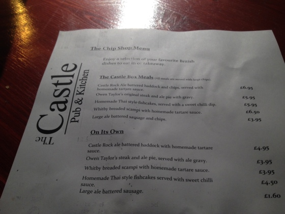 The Castle Menu