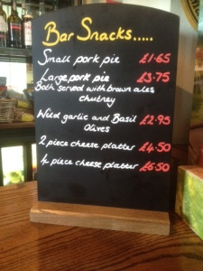 Bar Snack Menu at the Sir John Borlese Warren