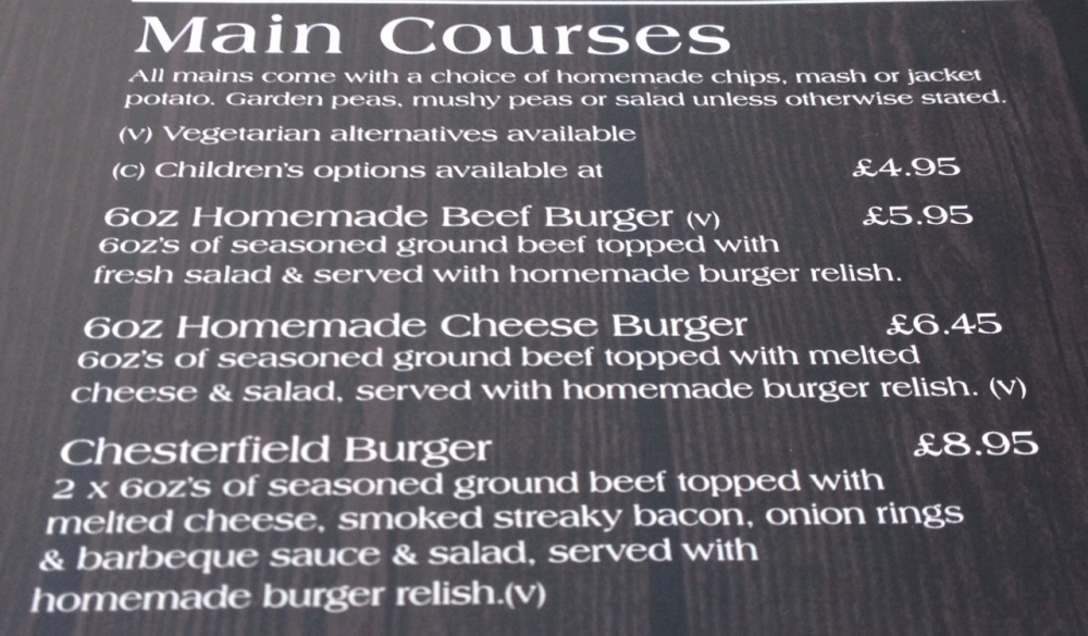 Menu at the Chesterfield