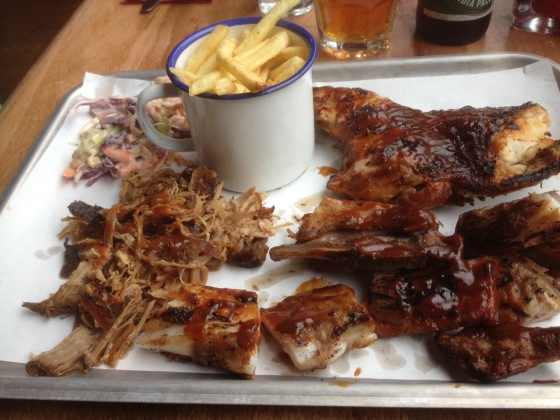 Chicken, Pulled Pork, and Rib Tip Platter