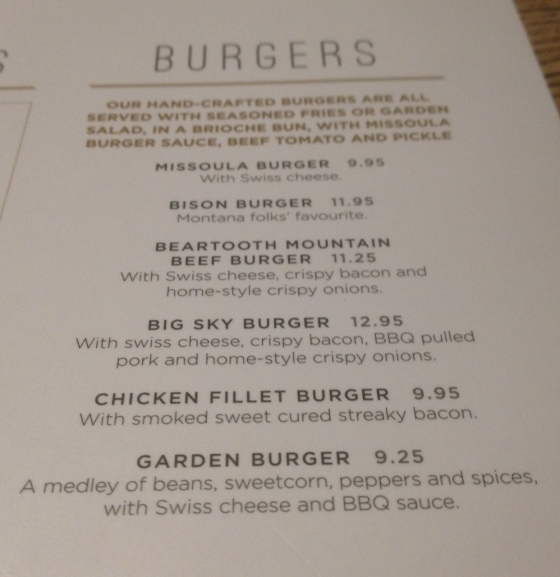 Burger menu at Missoula