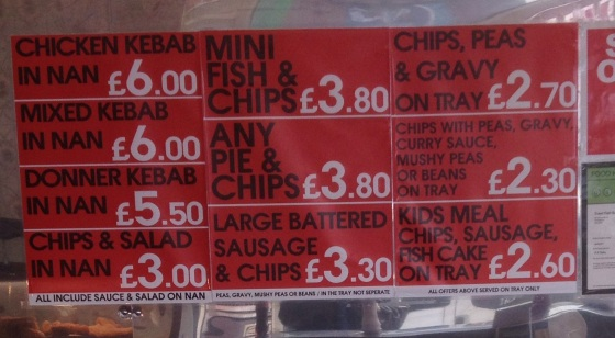 Trent Fish Bar menu