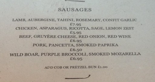 Sausage Menu at Oaks