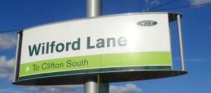 Wilford Lane Tram Stop Sign