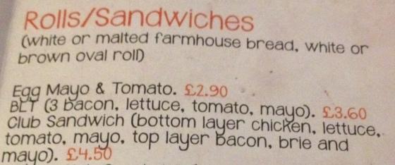Sandwich Menu options at the hungry pumpkin