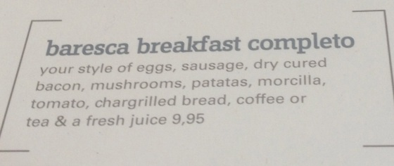 Baresca Breakfast Complete menu