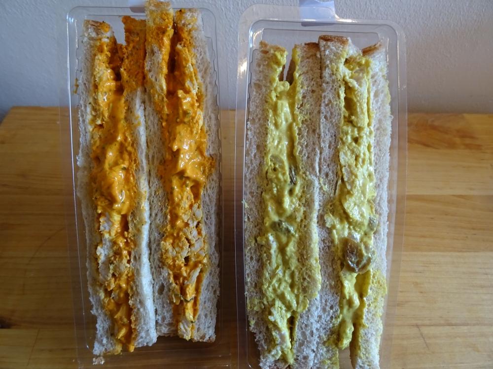 Chicken Tikka and Coronation Chicken Sandwiches
