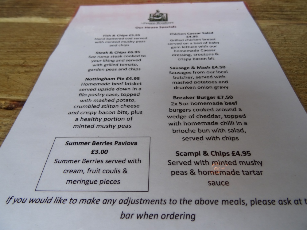 Frame Breakers Menu Ruddington