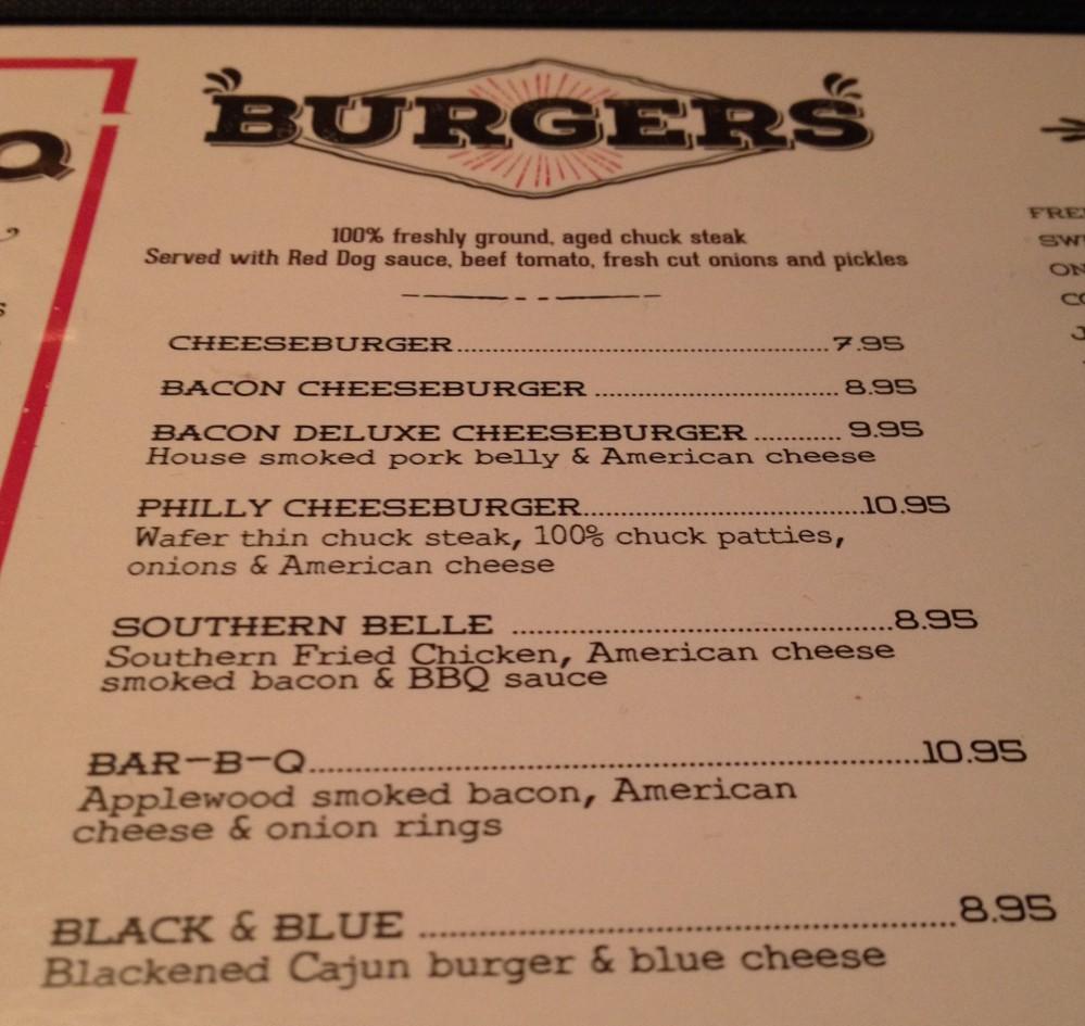 Burger Menu at Red Dog Saloon